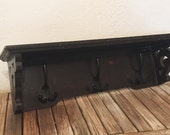 Vintage Wood Shelf with Hooks