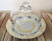 Vintage Glass Cloche with Hand Painted Japanese Plate