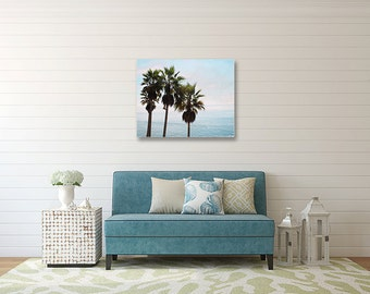 "Ocean Photography Canvas Print- Ocean palm tree photo, blue ombre, Palm Trees, CA coastal photography, canvas wall art, ""Laguna Palms"""