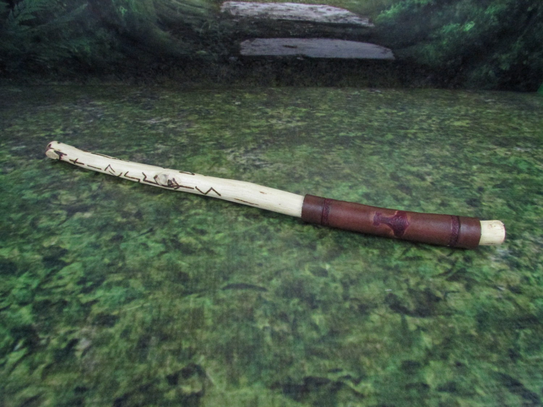 Walnut wood gandr wand with elder futhark runes pyrography for Wooden elder wand