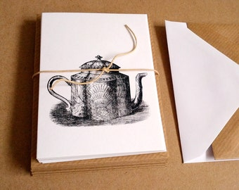 Teapot Notecards - set of 6 A7 size cards with recycled envelopes