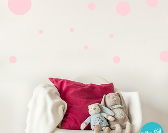 17 Dots - Assorted Size Peel and Stick Carnation Pink Polka Dot Wall Decals | 2 inch to 12 inch