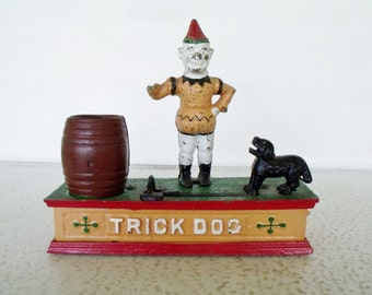 Trick Dog Coin Bank Cast Iron Damaged Penny Mechanical