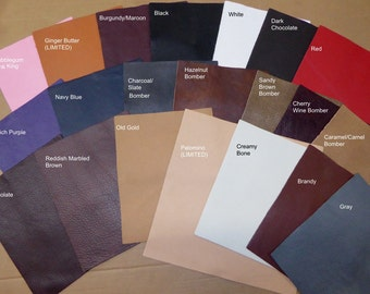 PREMIUM KING Leather 3 - 6 sq ft Choice of 26 colors Soft Full grain cowhide 2.75-3.25 oz / 1.1-1.3 mm PeggySueAlso™ E2881