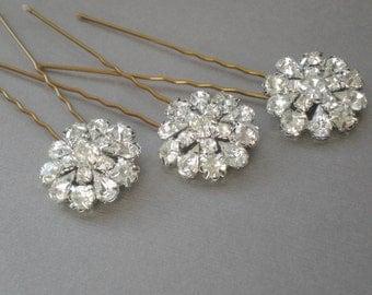 Bridal Hair Pins. Diamond Rhinestone Bling. Chic Prom. Bride Maids. Bridal shower