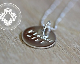 Flower Girl Necklace, Wedding, Bridal Party, Personalized Flower girl gift, necklace, Wedding gift