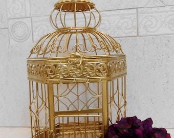 Medium Gold Hexagon Wedding Birdcage Card Holder / Wedding Card Box / DIY Wedding Card Holder / DIY Wedding / DIY Bride / Wedding Decor
