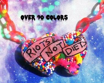 Riots Not Diets Resin Necklace, Feminist, Riot Grrrl, Pastel Goth, Soft Grunge