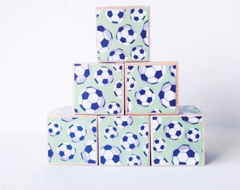 Soccer decor. Wood blocks. Baby Shower Decoration. Sports theme Nursery Decor. Wooden stacking blocks.