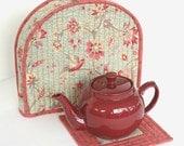 Tea Cozy, Quilted Floral Tea Cozy, Tea Pot Mat, Trivet, Blue Red Teapot Cover, Insulated Tea Cozy, Quiltsy Handmade