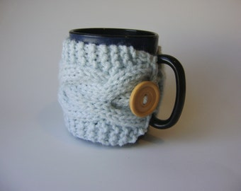 Double Cable Cup Cozy in Light Blue, Mug Cozy, Tea Cozy, Mug Sleeve, Mug Sweater, Cup Warmer with Button