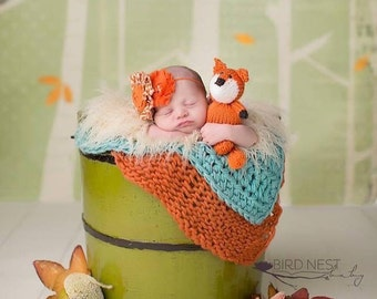 Knitted Woodland Fox Knitted Wolf Stuffy Newborn Prop