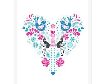 Folk Heart - Art Print