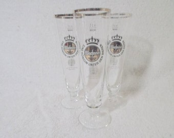 3 Warfteiner Beer Glasses
