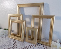 Gold Picture Frame Set Up Cycled Vintage Shabby Chic Photo Decoration Paris Apartment French Country Home Decor Fall Winter Wedding Gift Her