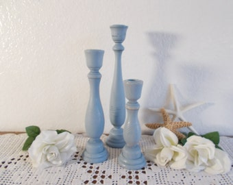 Blue Grey Candle Holder Set Rustic Shabby Chic Distressed Vintage Wood Taper Candleholder Beach Cottage Coastal Seaside Home Decor Gift Her
