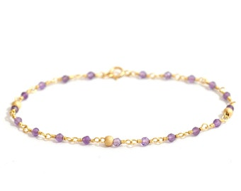 14K Gold. Amethyst Bracelet in 14KYG , Delicate Gold Bracelet, February Birthstone Jewelry, Gift for Her, Holiday Gift Idea