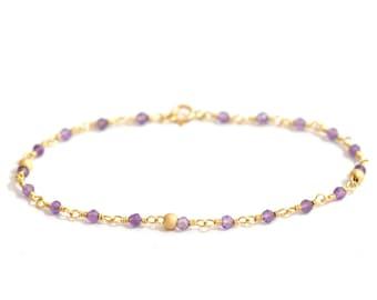 14K Gold. Amethyst Bracelet in 14KYG , Delicate Gold Bracelet, February Birthstone Jewelry, Gift for Her, Holiday Gift Idea