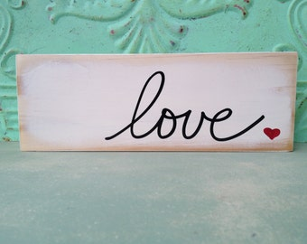 Ivory and Black Love Sign, Wooden Home Decor Love Sign, Rustic Love Shelf Sitter Sign