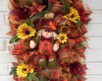 Fall Swag, Fall Wreath, Scarevrow Wreath. Scarecrow Swag, Fall Plaid Scarecrow Swag, Plaid Fall Scarecrow Wreath