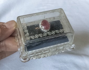 Art Deco Ring Box Clear Plastic Lucite Like Jewelry wedding blue velvet display Vintage