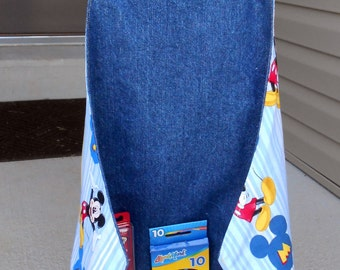 FREE USA SHIPPING, Personalized Mickey Mouse Art Apron, Mickey Mouse art smock, Disney gift, Toddler apron, appliqued boys gift