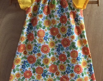 Hippie/Boho Retro Print Peasant Dress, girls size 5