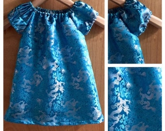 Brocade Dragon Dress,  Fall/Winter Boho Peasant Style, size 4t