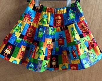 Twill Robot Skirt, size 3t
