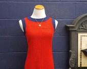 Vintage MOD Alison Ayers Barkcloth 1960's Sleeveless Shift dress, Size S