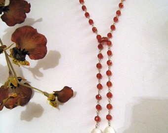 14k Gold,  Carnelian Bead,  And Pearl Lariat Necklace - Delicate,  Beautiful, And Elegant
