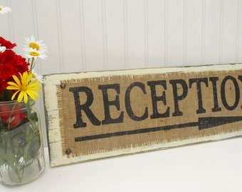 RECEPTION directional arrow sign burlap rustic shabby country