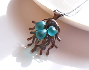 Wire jewelry, contemporary jewelry, gift for women, turquoise statement necklace, glass beads, bohemian necklace, copper wire