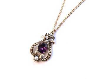 C. 1970's AVON Amethyst and Pearl Art Deco Revival Necklace