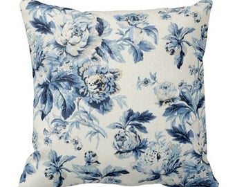 blue pillows, floral pillows, couch pillows, decorative pillows, pillows, floral throw pillows, waverly pillows, blue floral pillow, cushion