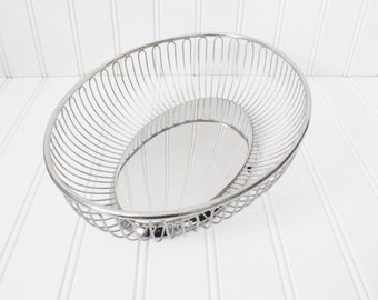 Vintage mid century silver bowl made in Italy, mid century modern silver basket