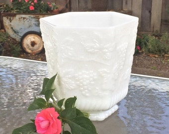 ON SALE Milk Glass Large Footed Container,  Grape and Vine Pattern, Large White Decor Bowl, Milk Glass Centerpiece for Wedding or Home