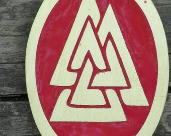 Viking Jewelry - Handmade Viking Valknut Pendant Etched in Brass and Hand Enameled in Red - Ready to Ship