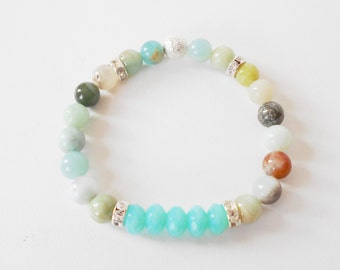 amazonite stretch bracelet, mixed colored amazonite stacking bracelet, mala bracelet, healing bracelet, yoga jewelry, gift for her
