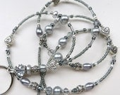 STUNNING SILVER HEART- Beaded Id Lanyard- Silver Crystals, Pearls, & Tibetan Silver Beads (Magnetic Clasp or Comfort Created)
