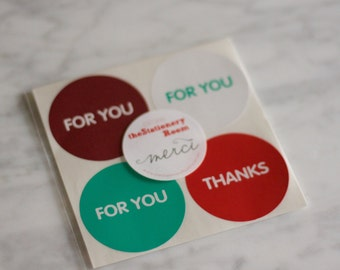 For You & Thank You Stickers - 5cm Round Circle Sticker Seals - 20 seals