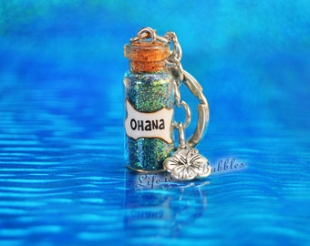 Ohana Keychain with a Flower Charm, Ohana Means Family Lilo Stitch Ohana Key Chain, Moana Jewelry, Hawaiian Keychain, by Life is the Bubbles