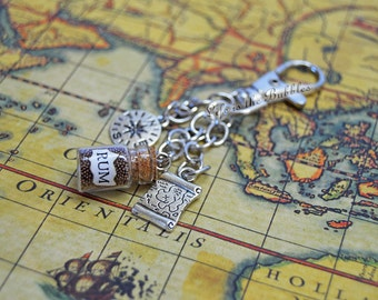 Pirate Purse Charms Key Chain, Rum Bottle, Treasure Map, Compass Charms, Pirates of the Caribbean Key Chain, Pirate Bag Charms, Pirate Bound