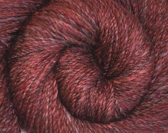 Hand spun yarn - Silk / Merino wool, DK weight - 325 yards - Smoking Cinders
