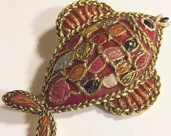 Vintage Enameled Metal Fish Brooch/Pendant