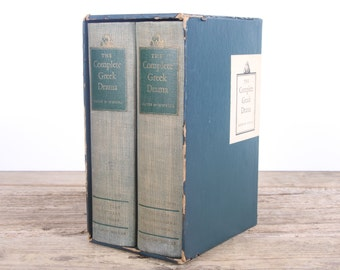 Antique Books / 1938 The Complete Greek Drama Oates and O'Neill / Old Vintage Books / Decorative Books / Vintage Book Set / Books for Decor