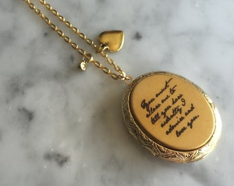 Jane Austen Necklace, Pride and Prejudice Necklace, Jane Austen Locket, You Must Allow Me to Tell You, Literary Necklace, Quote Necklace
