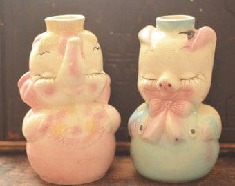 Vintage HULL LEEDS Pink Elephant, Pig Decanter, Set of 2, Vintage barware