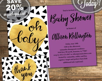 Baby Shower Package, Invitation, Thank You Card, Triangles, Aztec, Tribal, Black and White, Purple, Printable File (INSTANT Download)