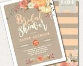 Pumpkin Fall Bridal Shower Invitation, Fall Wedding Shower Invite, Couples Shower, Fall Wedding